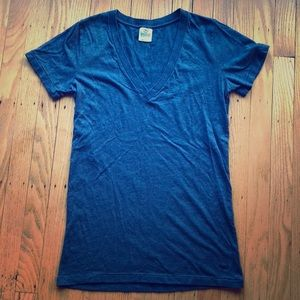 Blue v-neck VS PINK top
